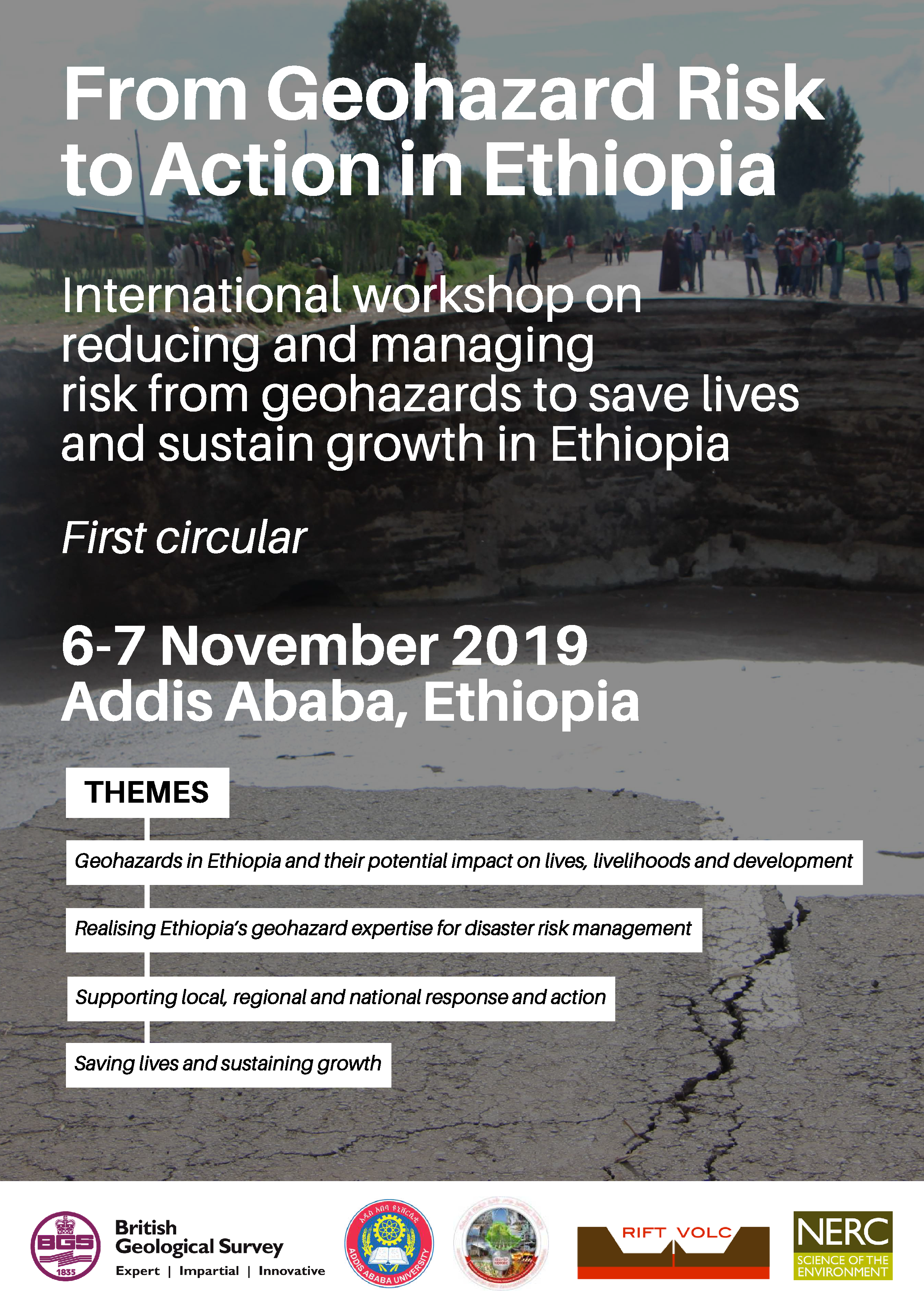 International workshop on reducing and managing risk from geohazards to save lives  and sustain growth in Ethiopia    6-7 November 2019 Addis Ababa, Ethiopia
