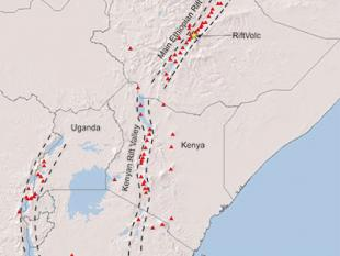 Map of the East African Rift running from the Afar Triple Junction, along the Main Ethiopian Rift